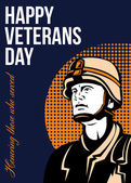 Happy Veterans Day Serviceman Greeting Card — Stock Photo