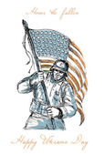 American Soldier Happy Veterans Day Greeting Card — Stock Photo