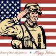 Stock Photo: Happy Veterans Day Greeting Card Soldier Salute