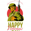 Stock Photo: Veterans Day Greeting Card AmericWWII Soldier