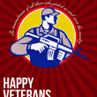 Stock Photo: Modern Soldier Veterans Day Greeting Card Side