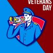 Stock Photo: Modern Veterans Day Soldier Bugle Greeting Card