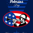 Stock Photo: Modern Veterans Day AmericSoldier Greeting Card