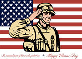 Happy Veterans Day Greeting Card Soldier Salute — Stock Photo
