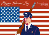 American Veterans Day Greeting Card Retro — Stock Photo