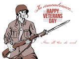 Veterans Day Greeting Card American Soldier — Stock Photo