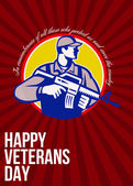 Modern Soldier Veterans Day Greeting Card Side — Stock Photo