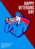 Modern Veterans Day Soldier Bugle Greeting Card — Stock Photo