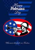 Modern Veterans Day American Soldier Greeting Card — Stock Photo