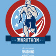American Marathon Runner Retro Poster — Stock Photo