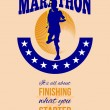 Marathon Runner Finishing Retro Poster — Stock Photo