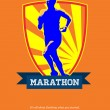 Marathon Runner Starting Run Retro Poster — Stock Photo