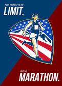 American Marathon Runner Push Limits Retro Poster — Stock Photo