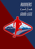Cross Country Runner Retro Poster — Stock Photo