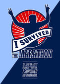 Marathon Runner Survived Poster Retro — Stock Photo