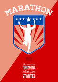 Marathon Runner Finish Run Poster — Stock Photo