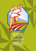 Marathon Runner Race Track Retro Poster — Stock Photo