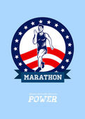 American Marathon Runner Power Poster — Stock Photo