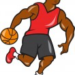 Stock Vector: Basketball Player Dribbling Ball Cartoon