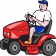 Gardener Mowing Rideon Lawn Mower Cartoon — Stock Vector