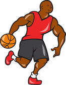 Basketball Player Dribbling Ball Cartoon — Stock Vector