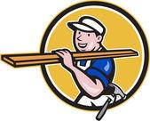 Carpenter Worker Carrying Timber Circle Cartoon — Stock Vector