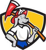 Dog Fireman Firefighter Fire Axe Shield Cartoon — Stock Vector