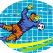 Stock Vector: Goalie Soccer Football Player Retro