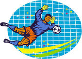Goalie Soccer Football Player Retro — Stock Vector