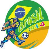 Joueur de football brasil 2014, coups de pied rétro — Vecteur