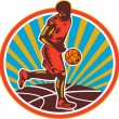 Stock Vector: Basketball Player Dribbling Ball Woodcut Retro