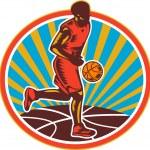 Постер, плакат: Basketball Player Dribbling Ball Woodcut Retro