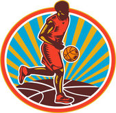 Basketball Player Dribbling Ball Woodcut Retro — Stock Vector