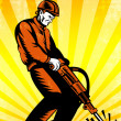 Construction Worker Jackhammer Retro Poster — Stock Photo #40257269