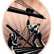 Construction Workers Woodcut Retro — Stock Photo