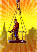 Construction Worker Platform Retro Poster — Stock Photo