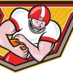 Постер, плакат: American Football Running Back Run Shield Cartoon