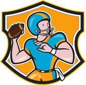 American Football Quarterback Throw Shield Cartoon — Stock Vector
