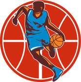 Basketball Player Dribble Ball Front Retro — Stock Vector