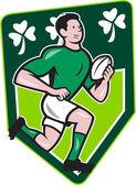 Irish Rugby Player Running Ball Shield Cartoon — Stock Vector