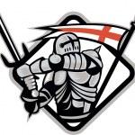 English Knight Fighting Sword England Flag Retro — Stock Vector