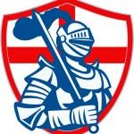 English Knight Hold Sword England Shield Flag Retro — Stock Vector