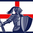 English Knight Holding Sword England Flag Retro — Stock Vector
