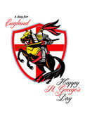 A Day For England Happy St George Day Retro Poster — Stock Photo