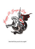Stand Tall Proud English Happy St George Stand Retro Poster — Stock Photo