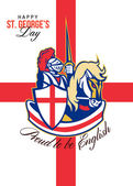 Happy St George Day Proud to Be English Retro Poster — Stock Photo
