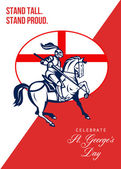 Happy St George Day Stand Tall Stand Proud Retro Poster — Stock Photo