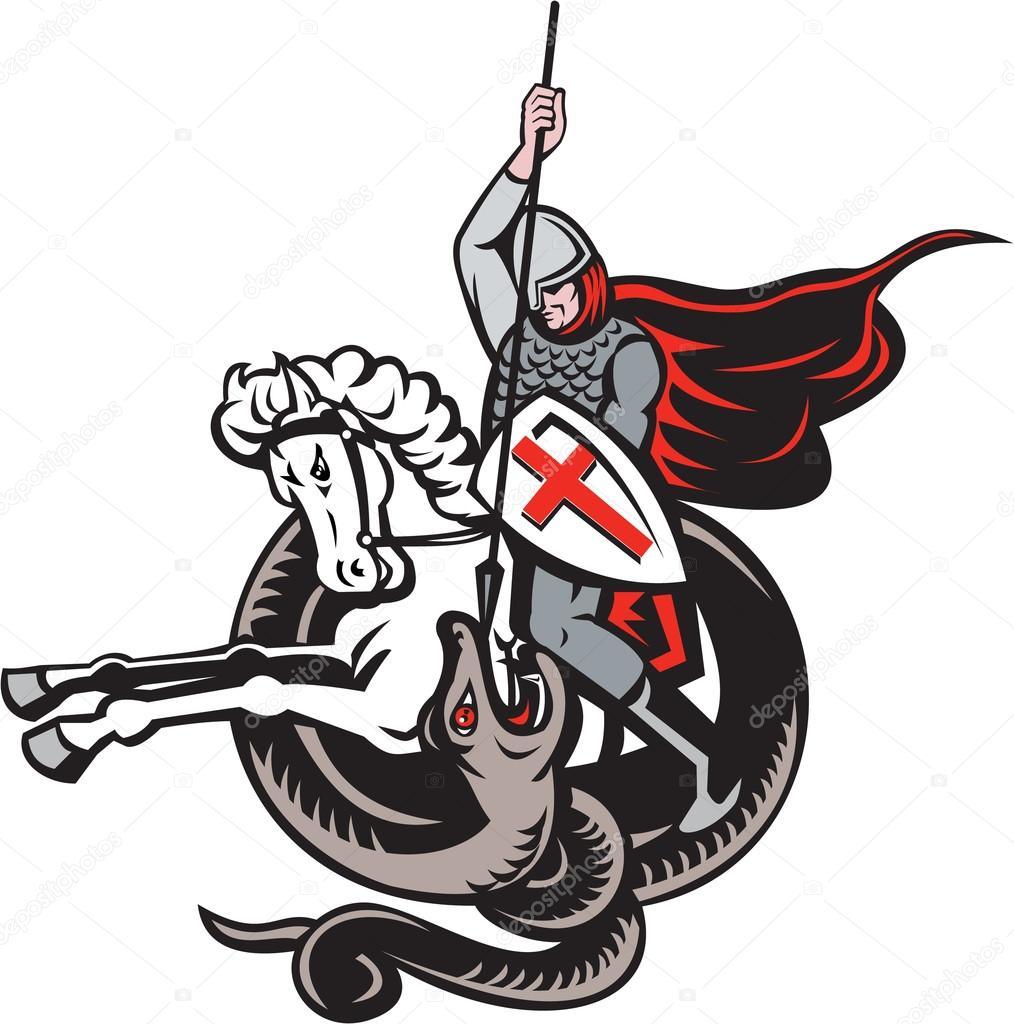 chevalier anglais combat drapeau de langleterre de dragon bouclier rtro illustration