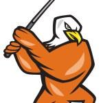American Bald Eagle Playing Golf Cartoon — Stock Vector #41348407