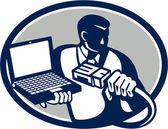 Computer Technician Holding Laptop Cable Retro — Stock Vector